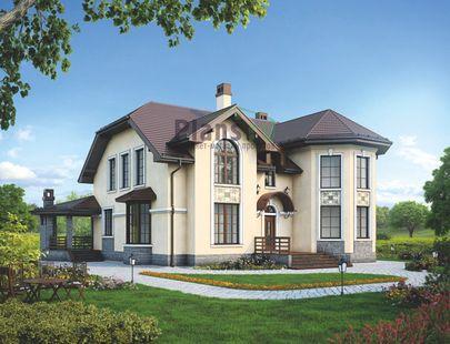 Проект дома с мансардой 18x16 метров, общей площадью 228 м2, из керамических блоков, c террасой, котельной и кухней-столовой