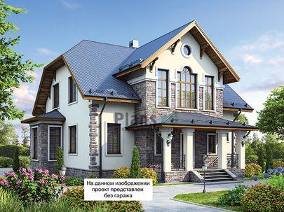 Проект дома с мансардой 18x16 метров, общей площадью 232 м2, из керамических блоков, c гаражом, террасой, котельной и кухней-столовой
