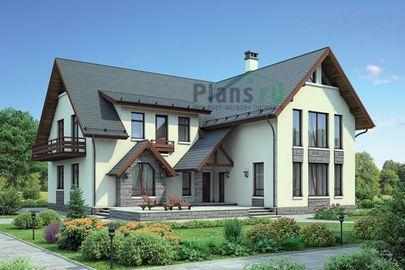 Проект дома с мансардой 18x17 метров, общей площадью 294 м2, из керамических блоков, со вторым светом, c террасой и котельной
