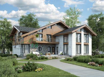 Проект дома с мансардой 18x17 метров, общей площадью 305 м2, из керамических блоков, со вторым светом, c террасой, котельной и кухней-столовой