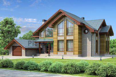 Проект дома с мансардой 18x17 метров, общей площадью 311 м2, из керамических блоков, c гаражом, котельной и кухней-столовой