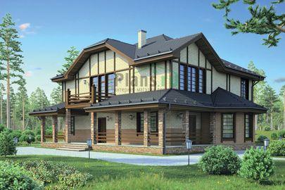 Проект дома с мансардой 18x18 метров, общей площадью 316 м2, из керамических блоков, c террасой, котельной и кухней-столовой