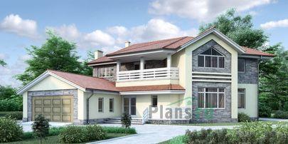 Проект дома с мансардой 18x20 метров, общей площадью 357 м2, из керамических блоков, c гаражом, котельной и кухней-столовой