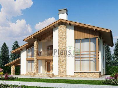 Проект дома с мансардой 19x12 метров, общей площадью 209 м2, из газобетона (пеноблоков), со вторым светом, c террасой, котельной и кухней-столовой