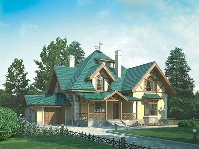 Проект дома с мансардой 19x15 метров, общей площадью 298 м2, из керамических блоков, c гаражом, террасой, котельной и кухней-столовой
