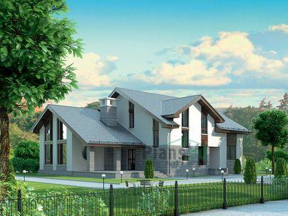 Проект дома с мансардой 19x16 метров, общей площадью 283 м2, из керамических блоков, со вторым светом, c террасой и котельной