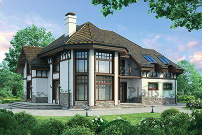 Проект дома с мансардой 19x16 метров, общей площадью 296 м2, из керамических блоков, со вторым светом, c террасой, котельной и кухней-столовой