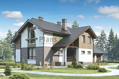 Проект дома с мансардой 20x15 метров, общей площадью 262 м2, из керамических блоков, c гаражом, террасой, котельной и кухней-столовой