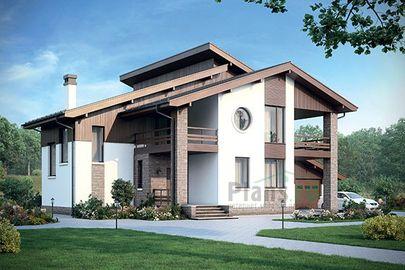 Проект дома с мансардой 20x17 метров, общей площадью 283 м2, из керамических блоков, c гаражом, террасой, котельной и кухней-столовой