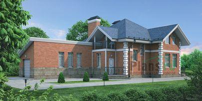 Проект дома с мансардой 21x11 метров, общей площадью 187 м2, из кирпича, c гаражом, террасой и котельной