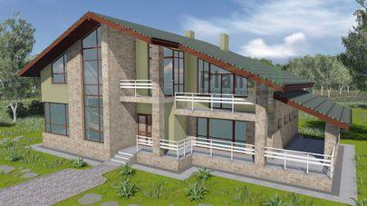 Проект дома с мансардой 21x13 метров, общей площадью 223 м2, из газобетона (пеноблоков), c бассейном, террасой, котельной и кухней-столовой
