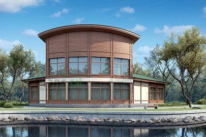 Проект дома с мансардой 21x16 метров, общей площадью 210 м2, из керамических блоков, c бассейном
