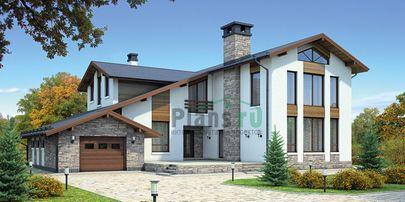 Проект дома с мансардой 21x16 метров, общей площадью 276 м2, из керамических блоков, со вторым светом, c гаражом, террасой и котельной