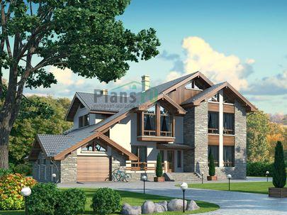 Проект дома с мансардой 21x18 метров, общей площадью 340 м2, из керамических блоков, c гаражом, террасой, котельной и кухней-столовой