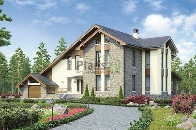 Проект дома с мансардой 21x18 метров, общей площадью 352 м2, из керамических блоков, c гаражом, террасой, котельной и кухней-столовой