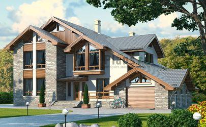 Проект дома с мансардой 21x18 метров, общей площадью 365 м2, из керамических блоков, c гаражом, террасой, котельной и кухней-столовой