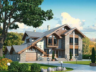 Проект дома с мансардой 21x18 метров, общей площадью 369 м2, из керамических блоков, c гаражом, террасой, котельной и кухней-столовой