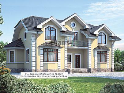 Проект дома с мансардой 22x11 метров, общей площадью 275 м2, из керамических блоков, c бассейном, котельной и кухней-столовой