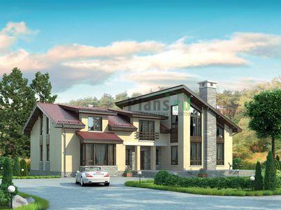 Проект дома с мансардой 22x18 метров, общей площадью 332 м2, из керамических блоков, со вторым светом, c террасой, котельной и кухней-столовой