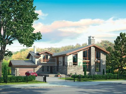 Проект дома с мансардой 23x18 метров, общей площадью 374 м2, из керамических блоков, со вторым светом, c гаражом, террасой, котельной и кухней-столовой