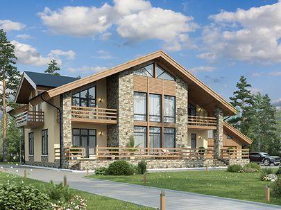 Проект дома с мансардой 23x19 метров, общей площадью 346 м2, из керамических блоков, со вторым светом, c гаражом, террасой и котельной