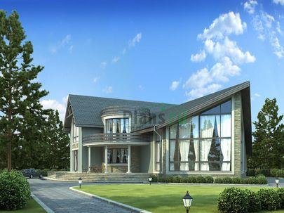 Проект дома с мансардой 25x19 метров, общей площадью 372 м2, из керамических блоков, со вторым светом, c гаражом, террасой, котельной и кухней-столовой