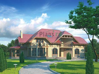 Проект дома с мансардой 26x23 метров, общей площадью 394 м2, из керамических блоков, со вторым светом, c бассейном, террасой и котельной