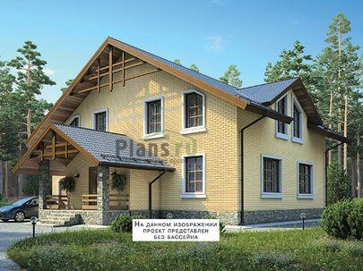 Проект дома с мансардой 28x13 метров, общей площадью 371 м2, из керамических блоков, c гаражом, бассейном, террасой, котельной и кухней-столовой