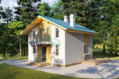 Проект дома с мансардой 7x7 метров, общей площадью 76 м2, из керамических блоков, c террасой, котельной и кухней-столовой