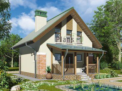 Проект дома с мансардой 7x9 метров, общей площадью 61 м2, из керамических блоков, c террасой, котельной и кухней-столовой