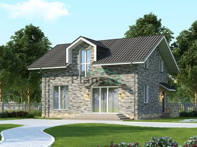 Проект дома с мансардой 8x10 метров, общей площадью 109 м2, из кирпича, c котельной и кухней-столовой