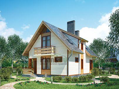 Проект дома с мансардой 8x10 метров, общей площадью 111 м2, из газобетона (пеноблоков), c террасой, котельной и кухней-столовой