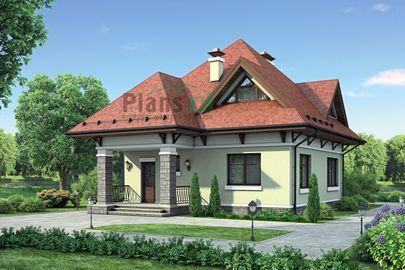 Проект дома с мансардой 8x10 метров, общей площадью 123 м2, из газобетона (пеноблоков), c котельной и кухней-столовой