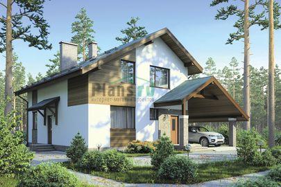 Проект дома с мансардой 8x10 метров, общей площадью 149 м2, из газобетона (пеноблоков), c котельной и кухней-столовой
