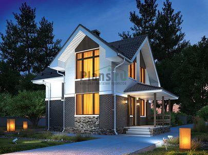 Проект дома с мансардой 8x10 метров, общей площадью 74 м2, из керамических блоков, c террасой, котельной и кухней-столовой