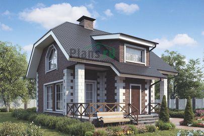 Проект дома с мансардой 8x6 метров, общей площадью 96 м2, из кирпича, c гаражом и террасой