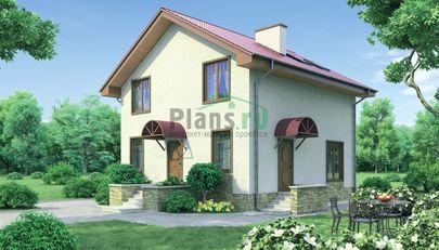Проект дома с мансардой 8x8 метров, общей площадью 116 м2, из газобетона (пеноблоков), c котельной, лоджией и кухней-столовой
