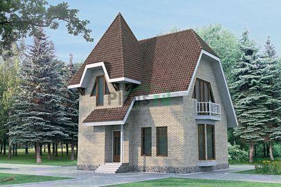 Проект дома с мансардой 8x8 метров, общей площадью 120 м2, из газобетона (пеноблоков), c кухней-столовой