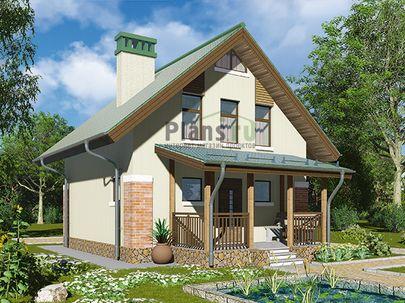 Проект дома с мансардой 8x8 метров, общей площадью 87 м2, из керамических блоков, c террасой, котельной и кухней-столовой