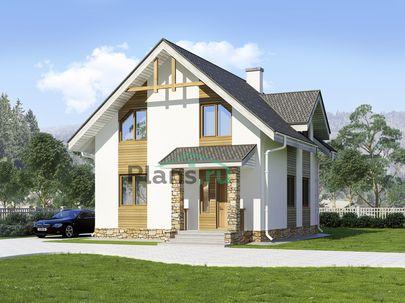 Проект дома с мансардой 8x9 метров, общей площадью 99 м2, из газобетона (пеноблоков), c котельной и кухней-столовой