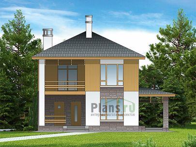Проект дома с мансардой 9x10 метров, общей площадью 121 м2, из газобетона (пеноблоков), c террасой, котельной и кухней-столовой