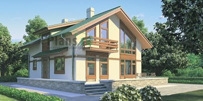 Проект дома с мансардой 9x10 метров, общей площадью 123 м2, из газобетона (пеноблоков), со вторым светом, c террасой, котельной и кухней-столовой