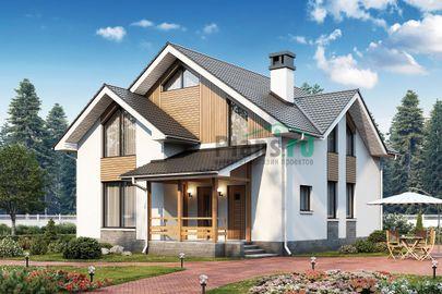 Проект дома с мансардой 9x10 метров, общей площадью 140 м2, из газобетона (пеноблоков), c террасой и котельной