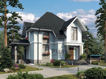 Проект дома с мансардой 9x10 метров, общей площадью 140 м2, из керамических блоков, c террасой, котельной и кухней-столовой