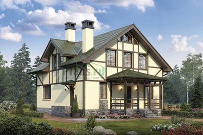 Проект дома с мансардой 9x10 метров, общей площадью 144 м2, из кирпича, c террасой и котельной