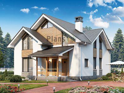 Проект дома с мансардой 9x10 метров, общей площадью 144 м2, каркасного типа, c террасой, котельной и кухней-столовой