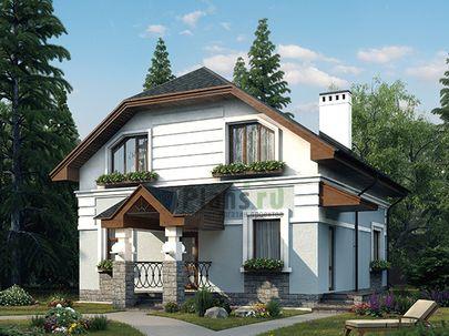 Проект дома с мансардой 9x10 метров, общей площадью 147 м2, из кирпича, c котельной и кухней-столовой