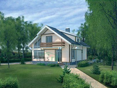 Проект дома с мансардой 9x10 метров, общей площадью 152 м2, из газобетона (пеноблоков), со вторым светом, c террасой, котельной и кухней-столовой