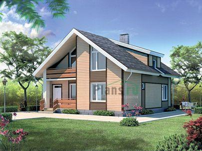 Проект дома с мансардой 9x10 метров, общей площадью 152 м2, из керамических блоков, со вторым светом, c террасой, котельной и кухней-столовой