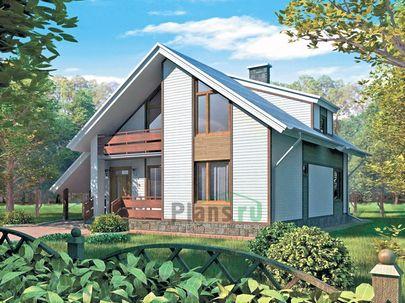 Проект дома с мансардой 9x10 метров, общей площадью 158 м2, из керамических блоков, со вторым светом, c террасой, котельной и кухней-столовой